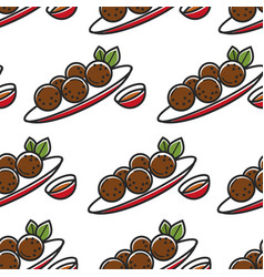 Felafel on plate and sauce seamless pattern vector
