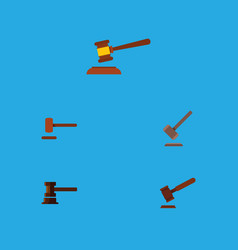 flat icon hammer set of defense hammer justice vector image