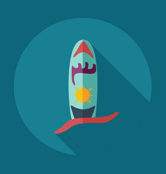 Flat modern design with shadow icons surf board vector