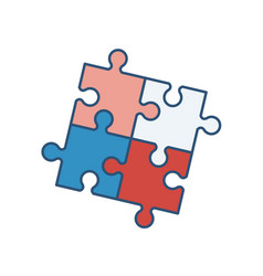 four interlocked jigsaw puzzle pieces isolated vector image
