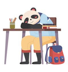 Funny cartoon animal student lovely cute panda vector
