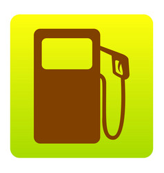 Gas pump sign brown icon at green-yellow vector