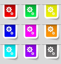 gears icon sign Set of multicolored modern labels vector image