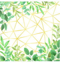 Geometric gold background with greenery vector