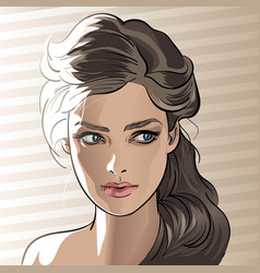 girl portrait in backlight cartoon style vector image