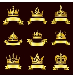 Gold crowns and ribbon banner set vector image