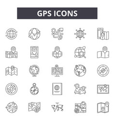 gps line icons signs set outline vector image