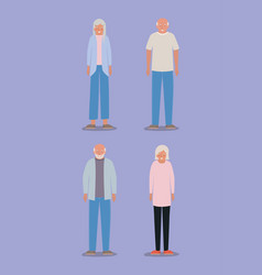 Grandmothers and grandfathers avatars vector