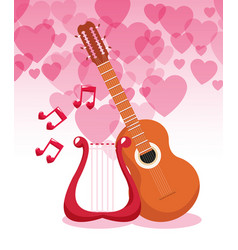 Guitar and harp with hearts vector