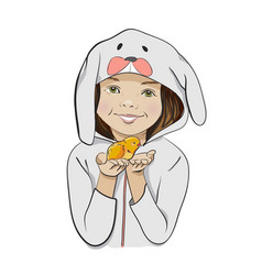 Happy Easter cartoon with girl and chick vector image