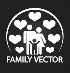 happy love family logo design - parents with kid vector image