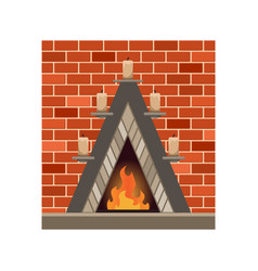 Home fireplace with fire vintage design vector