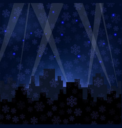 Houses silhouettes on winter night starry sky vector