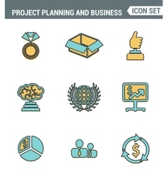 Icons line set premium quality of project planning vector image