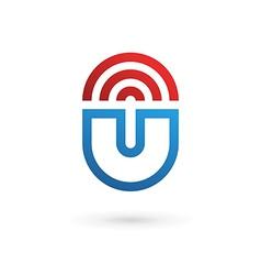 Letter U wireless logo icon design template vector
