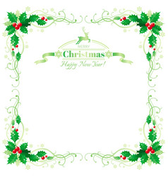 Merry christmas and happy new year border frame vector