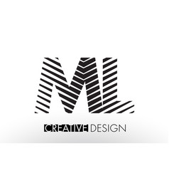 ml m l lines letter design with creative elegant vector image