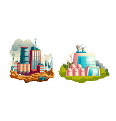 modern and future power plants cartoon vector image