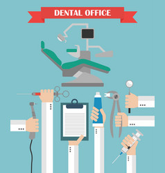modern dental office flat set design concept with vector image
