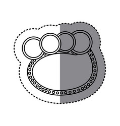 Monochrome sticker of oval speech with four vector
