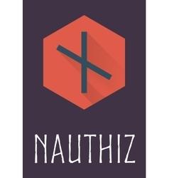 Nauthiz rune of elder futhark in trend flat style vector