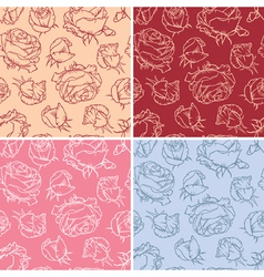 Pattern of flowers roses vector image