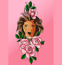 pink tribal tattoo decoration lion and rose vector image