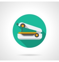 Portable sewing machine round flat icon vector image