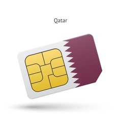 Qatar mobile phone sim card with flag vector