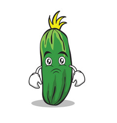 Sad cucumber character cartoon collection vector