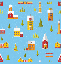 seamless pattern with cute buildings and trees vector image
