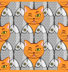 Seamless with fish and cats vector