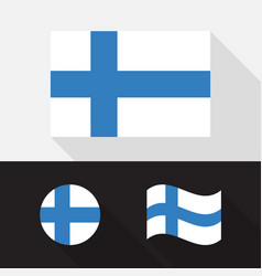 set finland flag flat design vector image