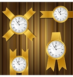 set gold watches and ribbon vector image