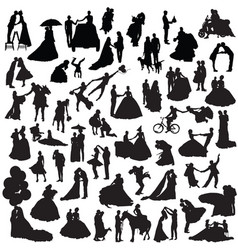 Set of couples silhouettes vector
