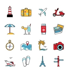 set travel and tourism line icons flat style vector image