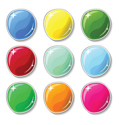 Shiny colorful buttons with glass surface effect vector