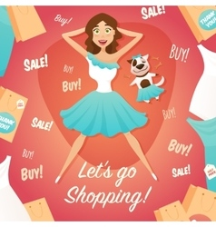 Shopping Girl Sale Advertisement Flat Poster vector image