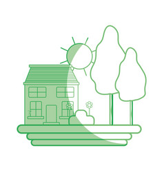 silhouette house with trees and plant with flowers vector image