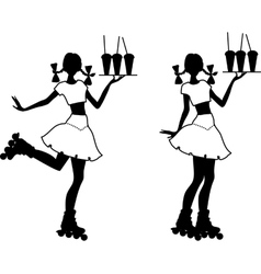 Silhouette of waiter girl vector image vector image