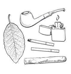Sketch style smoking pipe lighter cigar vector image