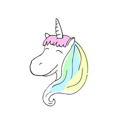 Smiling unicorn with colorful mane vector