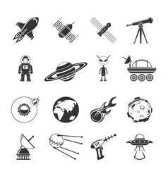 Space Black Icons Set vector