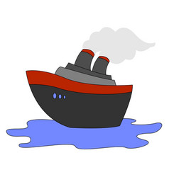 steamship on sea on white background vector image