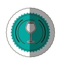 Sticker color round frame with glass of champagne vector