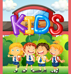 Students at school and word for kids vector