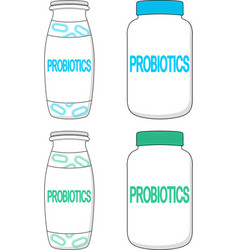 Template of small blank probiotics bottle vector