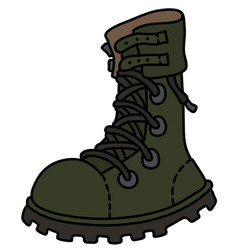 the khaki heavy military boot vector image