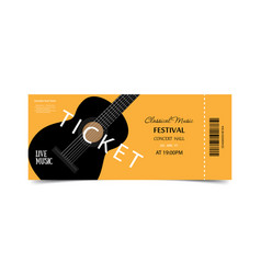ticket on festival live music orange ticket with vector image