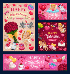 Valentines day love heart balloons cupids roses vector